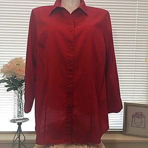 🌹Tailored Red Blouse
